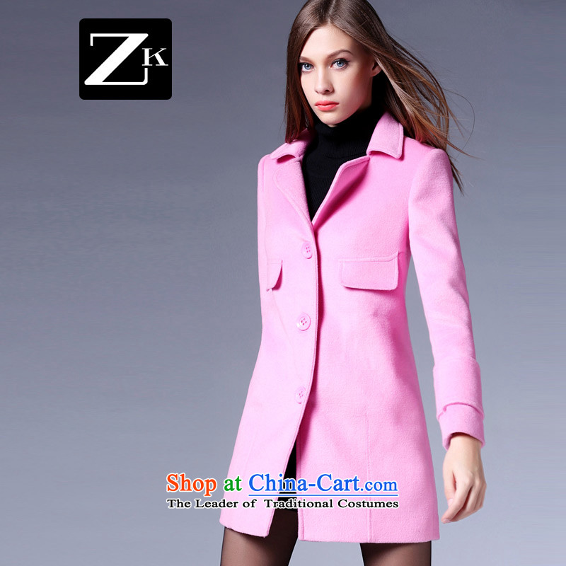 Zk Western women 2015 Fall/Winter Collections new suit for simple single row clip hair? jacket female Sau San a wool coat pink L