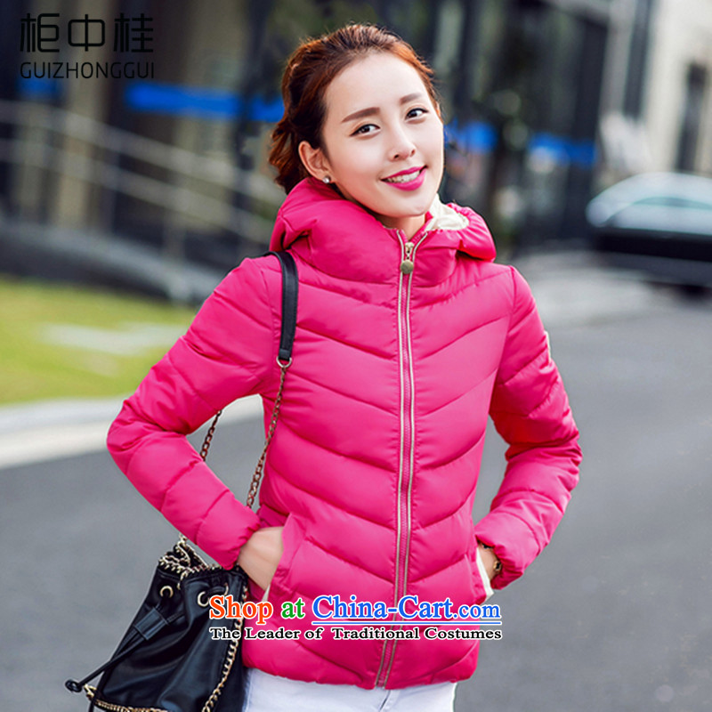 Cabinet Kwai 2015 winter new Korean large Sau San cotton coat girl in a small padded coats thickened short cotton jacket B186 female in the red L