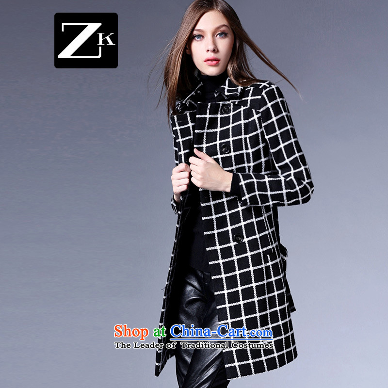 Zk Western women聽2015 Fall_Winter Collections new monochrome, long hair? jacket commuter Sau San video thin a wool coat with latticed聽S