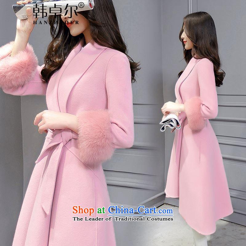 Korea's�15 winter new Korean fashion v-neck autumn and winter coats that? long hair? jacket X4041 Sau San rouge toner燬