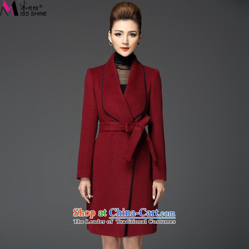 Meath Yang Chi An original 2015 autumn and winter new western temperament long-sleeved thin in the long graphics Sau San gross? S Red Jacket
