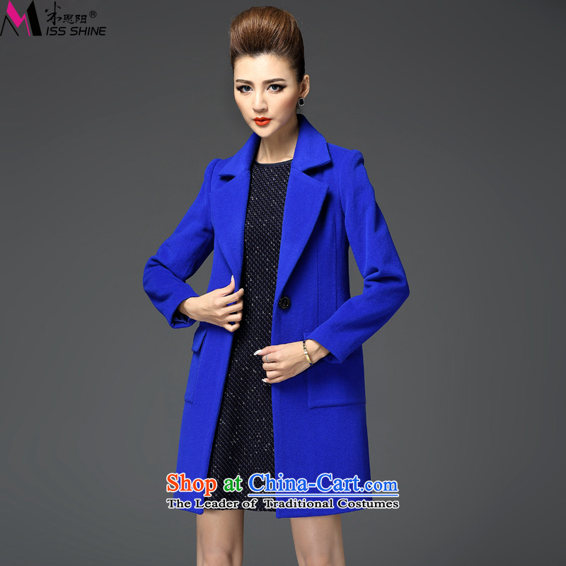 Meath Yang original fang 2015 autumn and winter included new long-sleeved jacket gross? in double-long coats of female blue S?