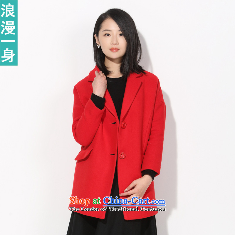 A romantic RMEO_ 2015 Winter Female new stylish and elegant wild Lok rotator cuff wool overcoats 85466111? REDM