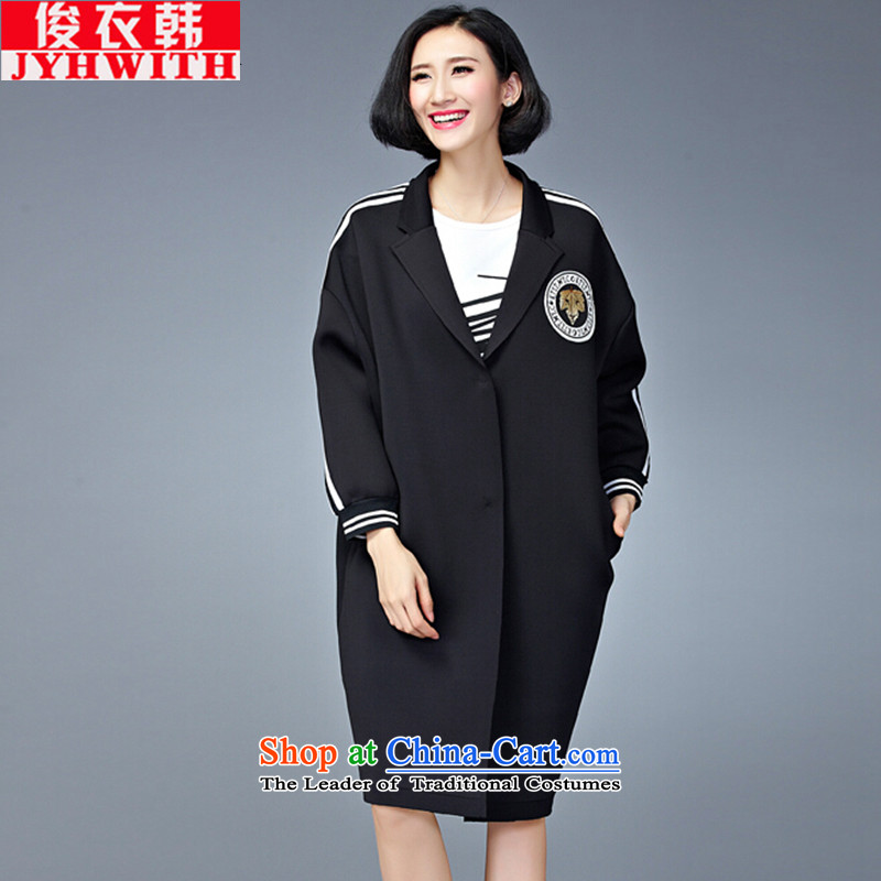 Mr James TIEN Yi Won windbreaker women larger female 200 catties jacket extra thick people dress chubby woman thick sister lax with graphics, increase to thin female winter clothing black large numbers are Code�0 to 200 catties can penetrate