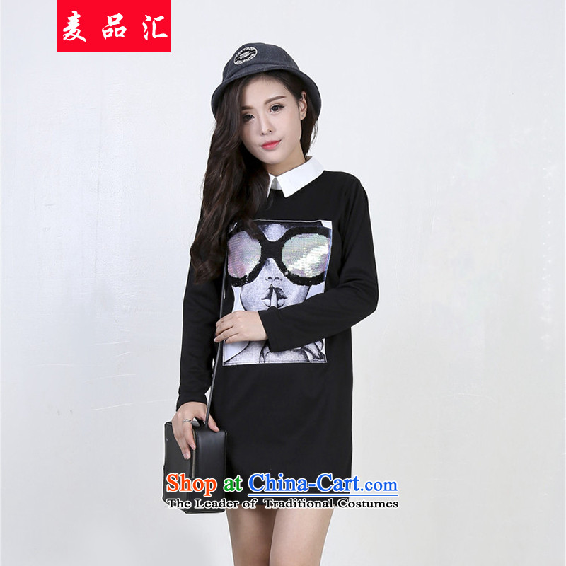 Mr Hui�15 autumn and winter, XL female thick sister Long-Sleeve Shirt expertise, forming the catty 200 mm in length_ on-chip dresses�L 6269 Black