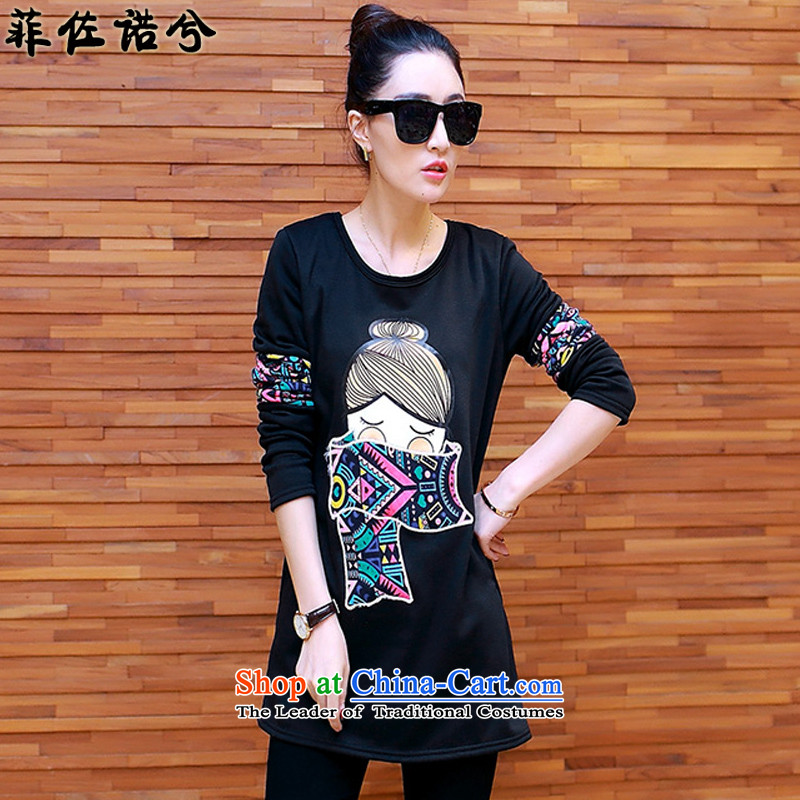 The officials of the fuseau2015 winter new plus lint-free thick sweater thick mm ethnic stamp to xl black jacket leisure4XL