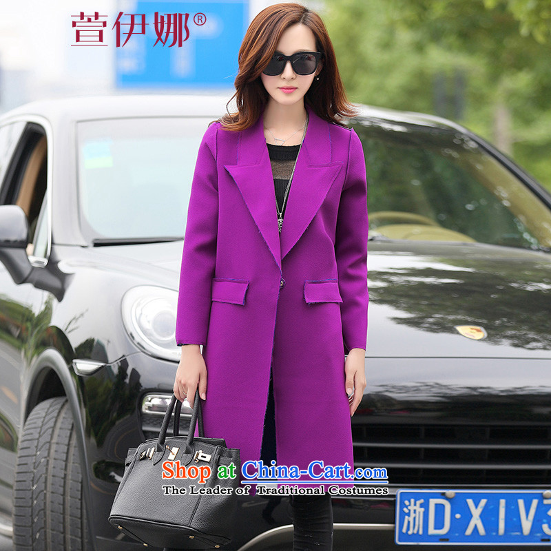 Xuan INA Install autumn 2015 New Women's jacket Korean Stylish coat in gross?   Ms. long hair? jacket Q PURPLE M