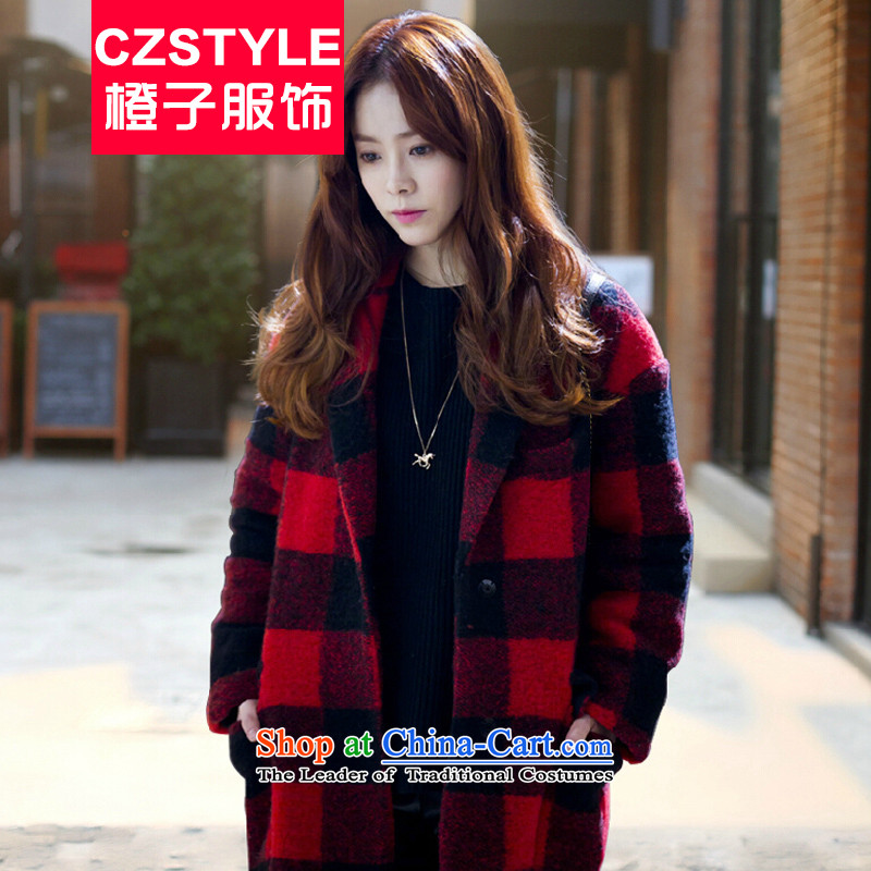 Install the latest autumn and winter czstyle2015, Korean female stars in the same generous long winter a wool coat gross??M Red Jacket Female