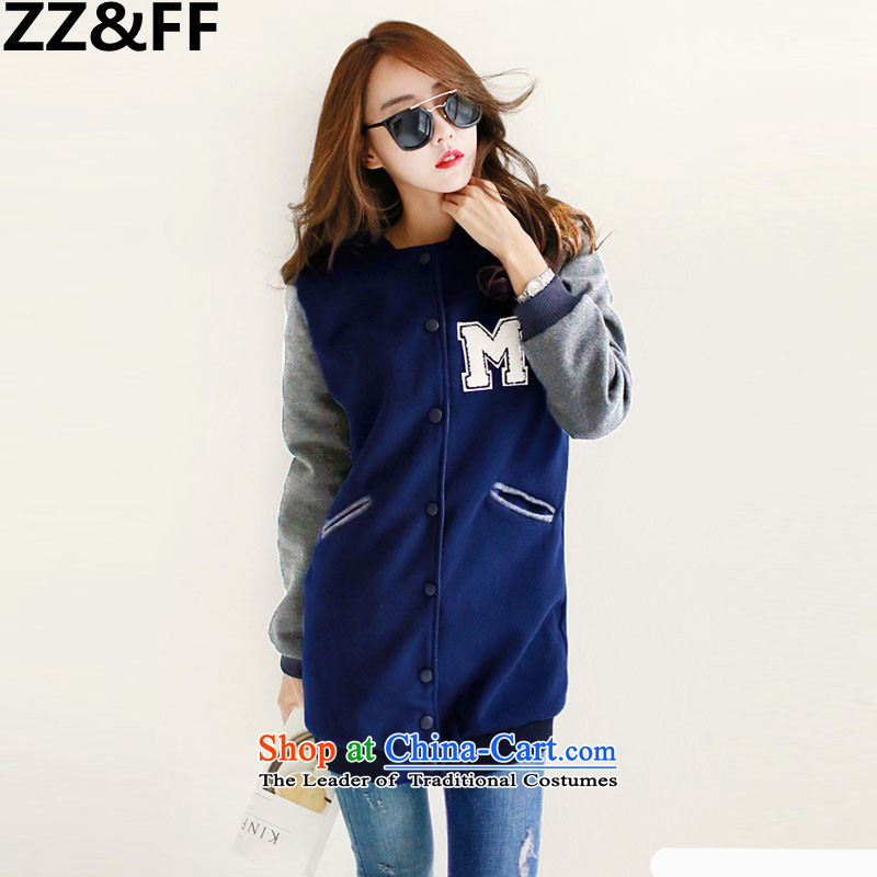 2015 Autumn and winter Zz_ff new Korean version of Fat MM trendy code women loose video thin baseball services聽381聽dark blue jacket for larger XL