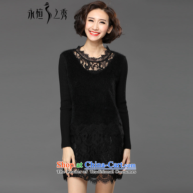 The Eternal Soo-winter dresses to increase women's code thick mm sister 2015 Fall_Winter Collections thick, Hin thin lace forming the new dresses Drop-Needle LS black 4XL