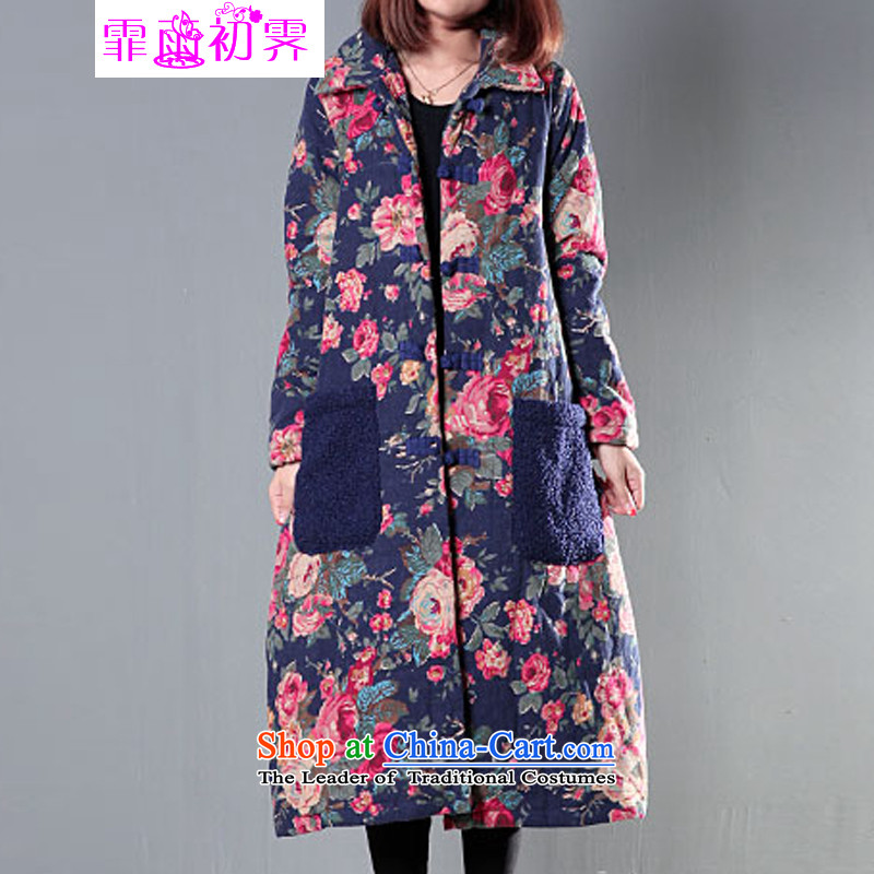 The beginning of the rain. Arpina ji�15 winter new Korean version of large numbers of ladies retro national winds flowerpot collar thick cotton detained�2爏afflower燲L爎ecommendations about 140-155