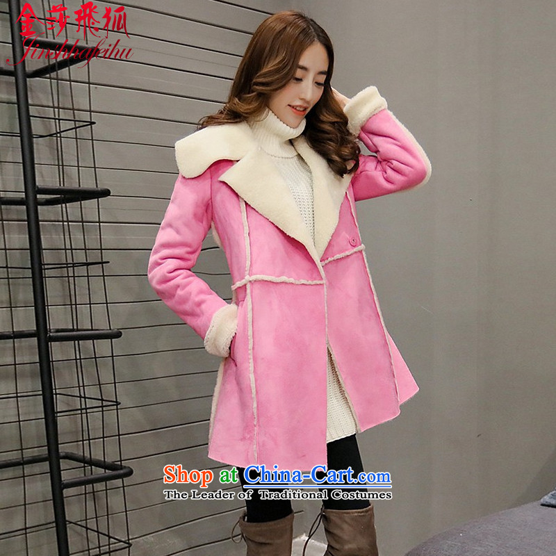 The Flying Fox Of The Jinsha cotton coat female Korean version 2015 autumn and winter new skin lint-free long thick lambs in gross cotton jacket female?510?of Sau San red?L