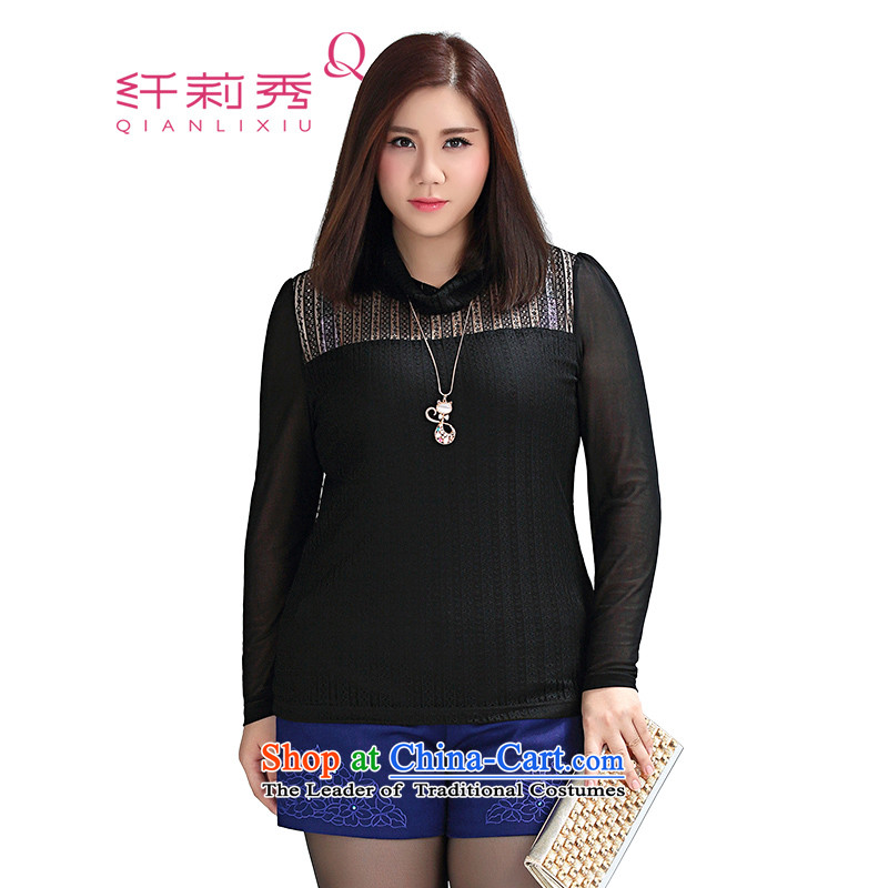 The former Yugoslavia Li Sau 2015 winter clothing new Fat MM larger female ELASTIC LACE draw lint-free warm video thin lace Netherlands 1007, forming the black聽4XL