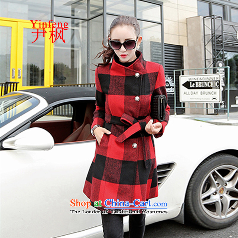 Yoon Won? coats maple version 2015 autumn and winter new stylish girl coats gross?   in temperament long gross jacket female red L?