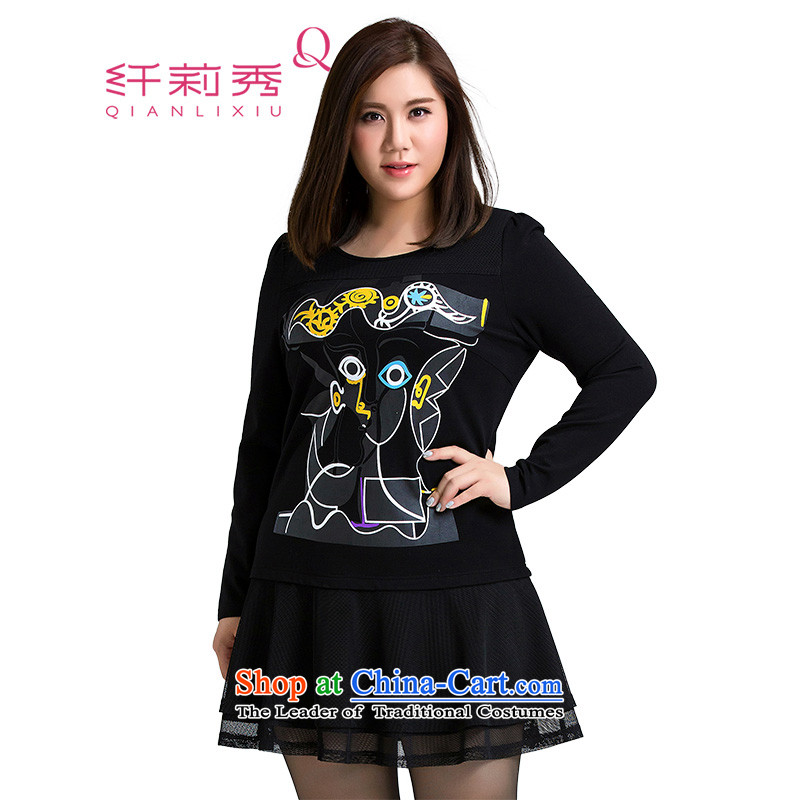 The former Yugoslavia Li Sau 2015 Fall_Winter Collections of new large MM thick female stamp stitching niba swing video thin long-sleeved dresses 017 Black�L