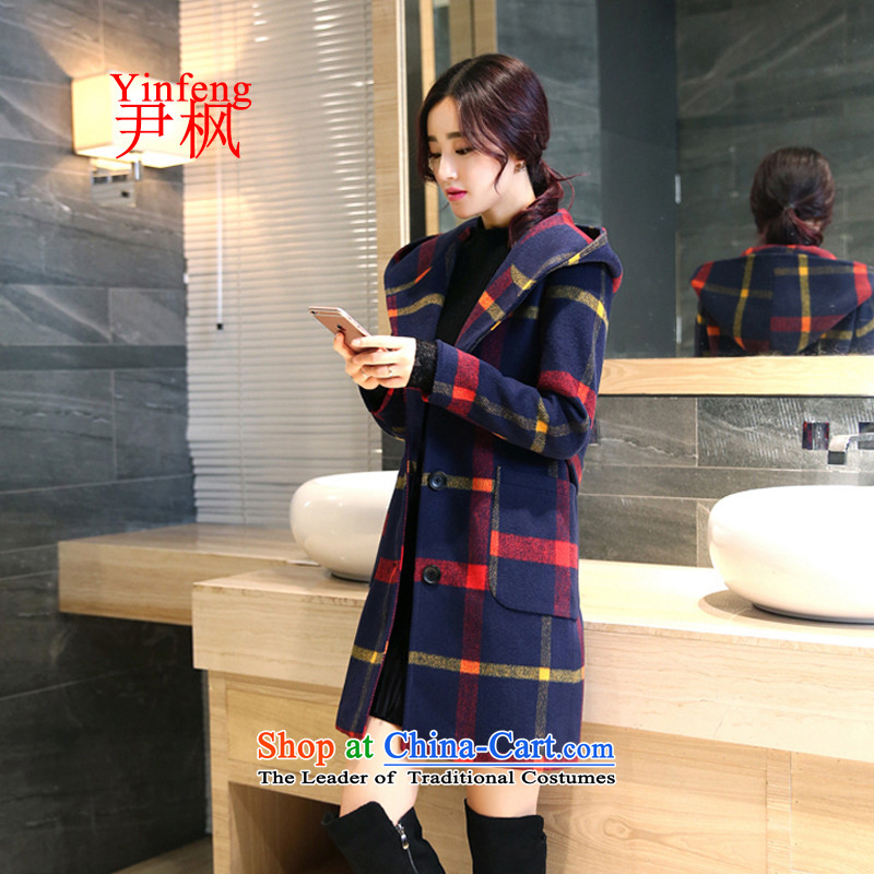 Yun Feng 2015 autumn and winter coats Korean? The New Sau San? coats girl handing gross in long hair stylish girl red and yellow jacket?.L