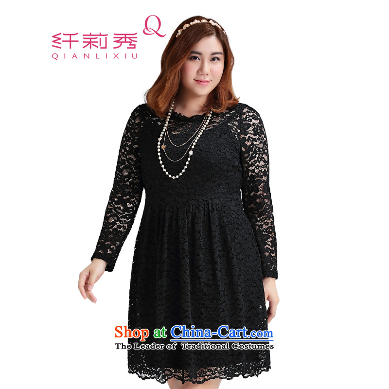 The former Yugoslavia Li Sau 2015 Fall_Winter Collections of new large MM thick women's Mock-neck wavy lace lace video thin dresses 1172 Black�L