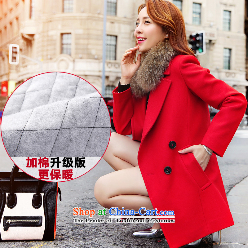 The Disneyland gross? 2015 autumn and winter coats female new Korean small incense wind in long Sau San a wool coat cotton red plus upgrade S
