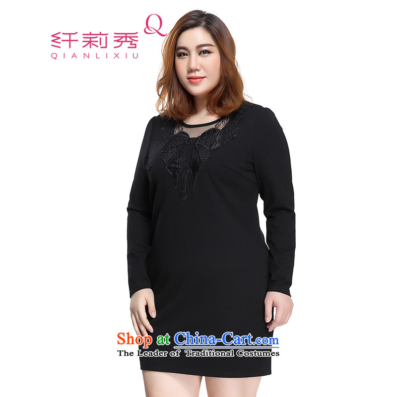 The former Yugoslavia Li Sau 2015 Fall_Winter Collections of new large M thick female embroidery stitching high pop-video thin wild dresses�L 1321 Black