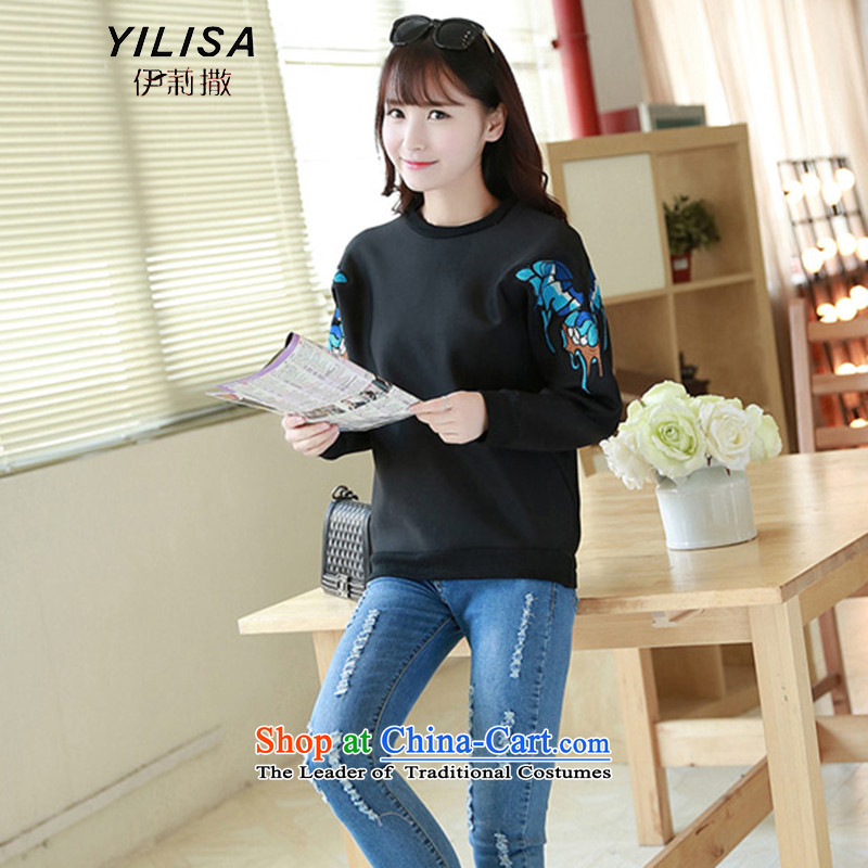 Elizabeth sub-autumn and winter new to xl blouses sweater Western Wind Butterflies embroidery sweater MM thick winter clothing loose kit and long-sleeved T-shirt K364聽3XL black