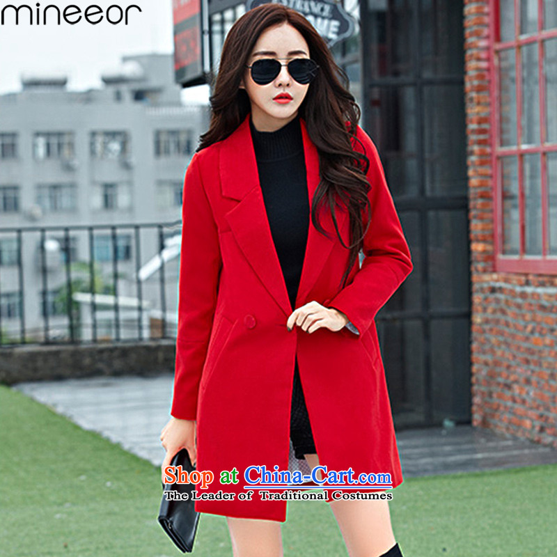 Mineeor  autumn and winter new long-sleeved single row detained Sau San won version of large numbers in the thick of gross Wind Jacket coat? HYW8858 female Red M