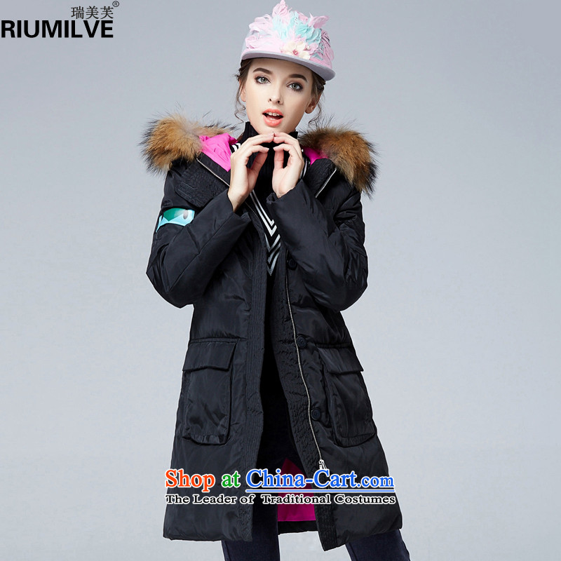 Rui Mei to� large 2015 Women's winter clothing new TO XL Graphics thin noble atmosphere is warm jacket coat N9912 black�L爌re-sale 7 days Shipment