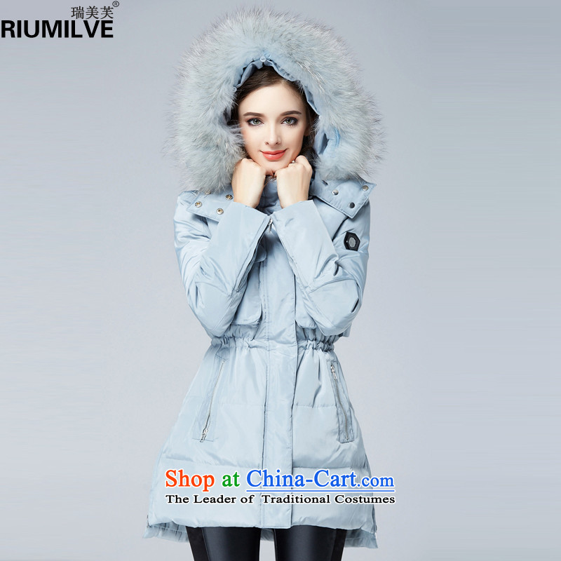 Rui Mei to  large 2015 Women's winter clothing new to xl warm in long-Nagymaros collar cap down jacket N9908 light blue 3XL pre-sale 7 days Shipment