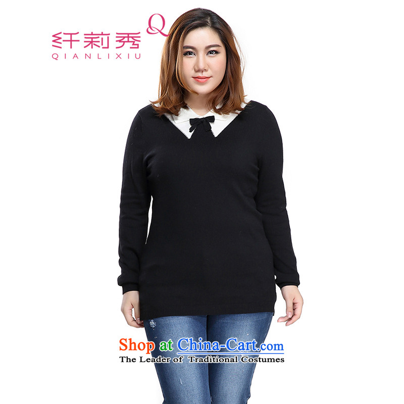 The former Yugoslavia Li Sau 2015 Fall/Winter Collections of new large MM thick female Korean Color Plane Collision lapel bow tie woolen pullover female black3XL 1558