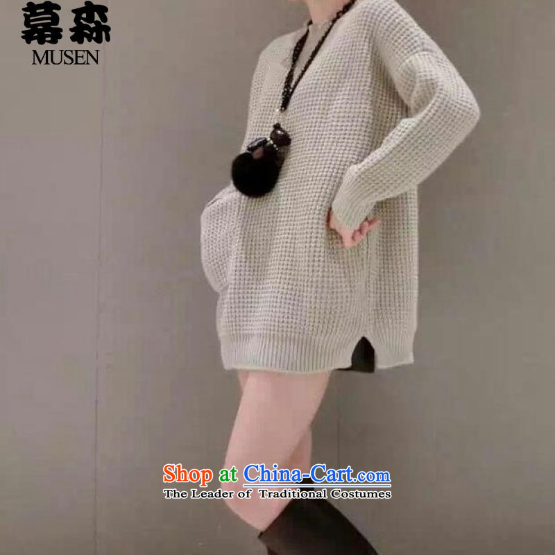 The sum爋f the autumn and winter 2015 large ladies casual clothes in Europe stylish pullovers wild thick line pocket will gray sweater