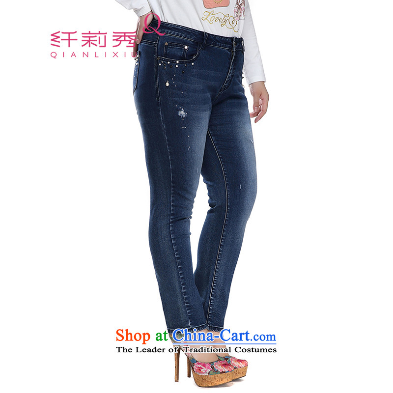 The former Yugoslavia Li Sau 2015 Fall_Winter Collections new larger women in comfortable waist rivets pearl decorated castor jeans women 1365 Denim blue聽33