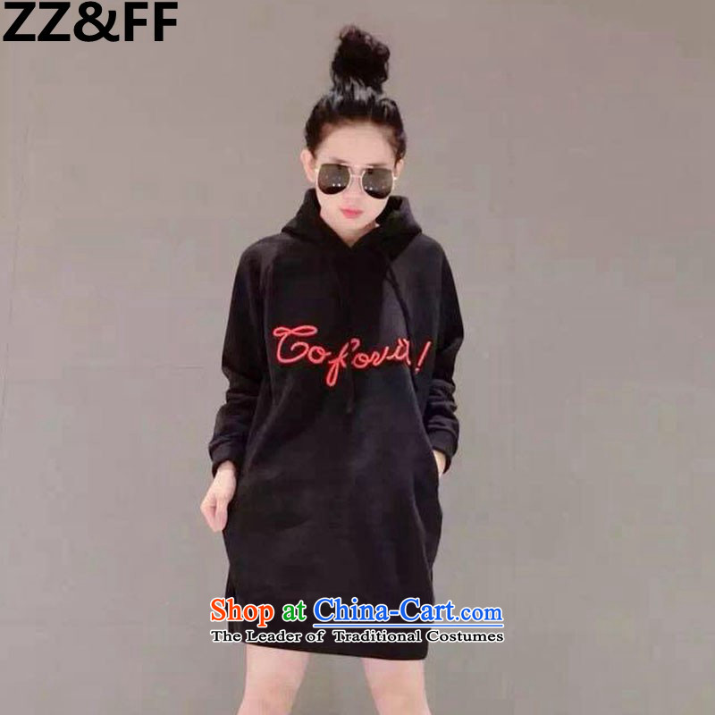 2015 Autumn and winter Zz&ff new Korean version of Fat MM trendy code women loose video thin plus extra thick wool sweater dresses 392 Large Black XL
