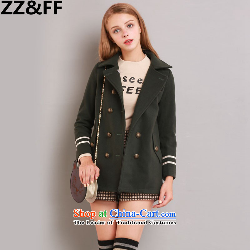 2015 Autumn and winter Zz&ff New England wind thick MM trendy decorated in video code of the girl child in the THIN? jacket 387Army Green larger 2XL