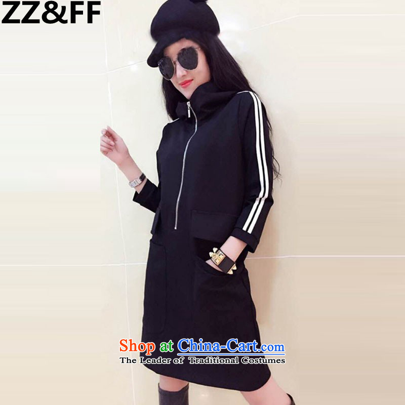 2015 Autumn and winter Zz_ff new Korean version of Fat MM trendy code women plus long-thick wool sweater dresses 385 Black Large Code 2XL