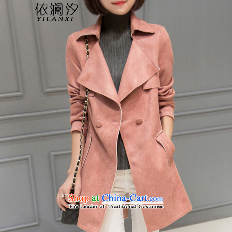 In accordance with the World Hsichih windbreaker female spring and autumn 2015 Autumn replacing New Sau San Uk suede female windbreaker. Long jacket, Ms. 743 pink燤
