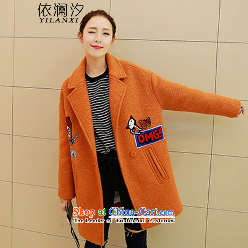 In accordance with the World 2015 autumn leaves new winter Korean long-sleeved jacket, wool? Long Hoodie coats larger female 931 gold and聽XL