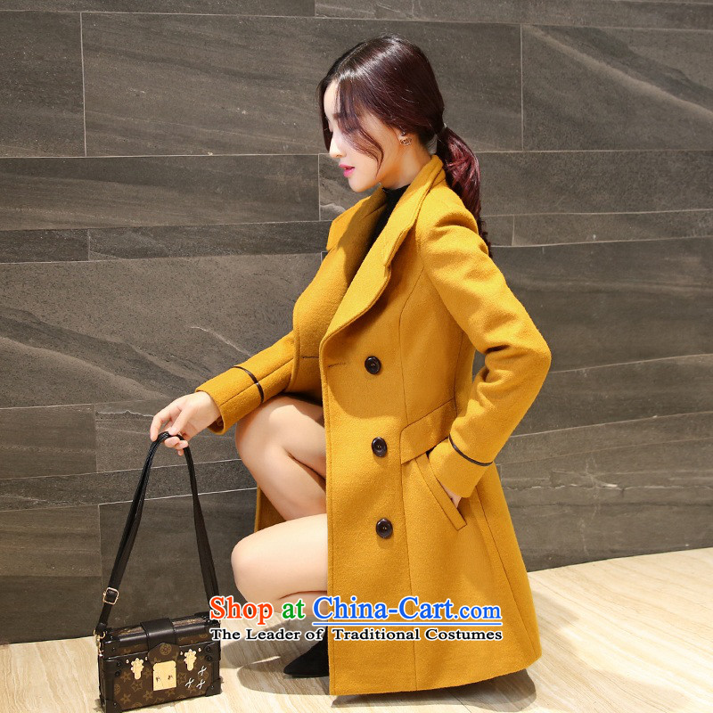 Sin has聽2015 autumn and winter new Korean young daughter coats gross double row is long coats jacket women gross? Yellow聽M
