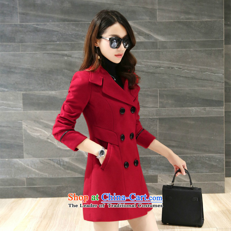 Sin has�15 autumn and winter new Korean young daughter coats gross double row is long hair? wine red jacket coat female燲XL
