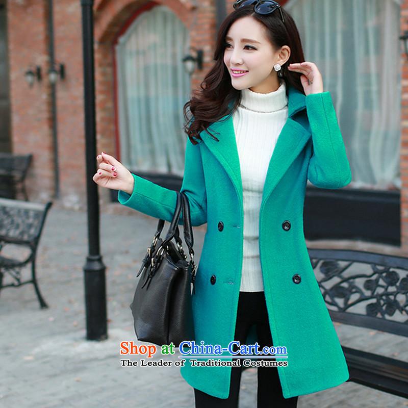 Sin has聽 2015 winter coats of new products with a wool coat Korean Sau San Fleece Jacket is long hair green聽M