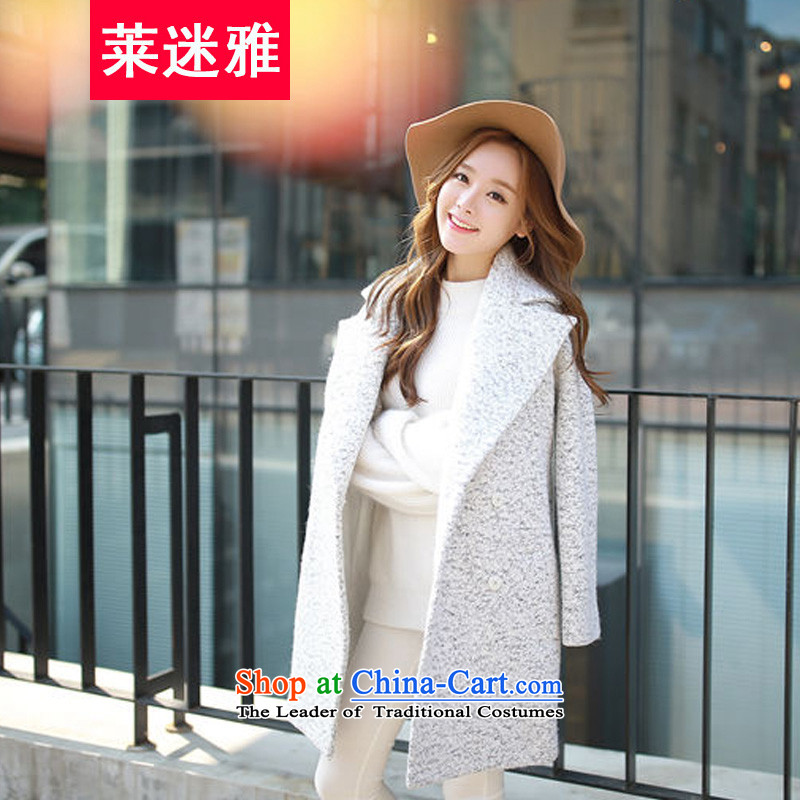 Gloria mini-ya autumn and winter new women in Korean long lapel large Sau San Mao jacket? a wool coat Female Light Gray L