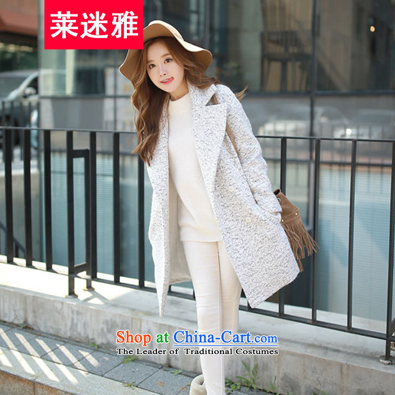 Gloria mini-ya autumn and winter new women in Korean long lapel large Sau San Mao jacket? a wool coat Female Light Gray聽, L'mini-ya , , , shopping on the Internet