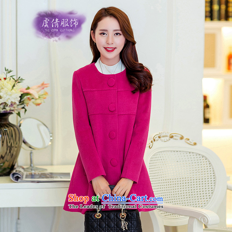 Yu Chien YQ 2015 autumn and winter new Korean fashion in Sau San long cashmere a single row clip hair girl Y350 coats of what redXL