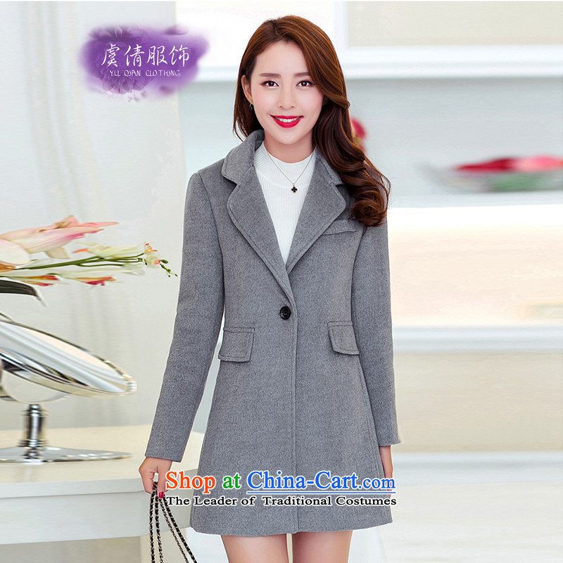 Yu Chien YQ 2015 autumn and winter new Korean fashion the cashmere overcoat so Sau San single row detained women in long Y353 light gray燲L