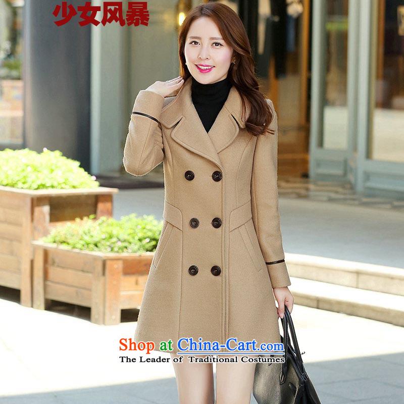 2015 Autumn and Winter Storm girls new coats, wool? Long Korean Sau San video thin double-jacket stylish girl gross? khaki coat燲XXL