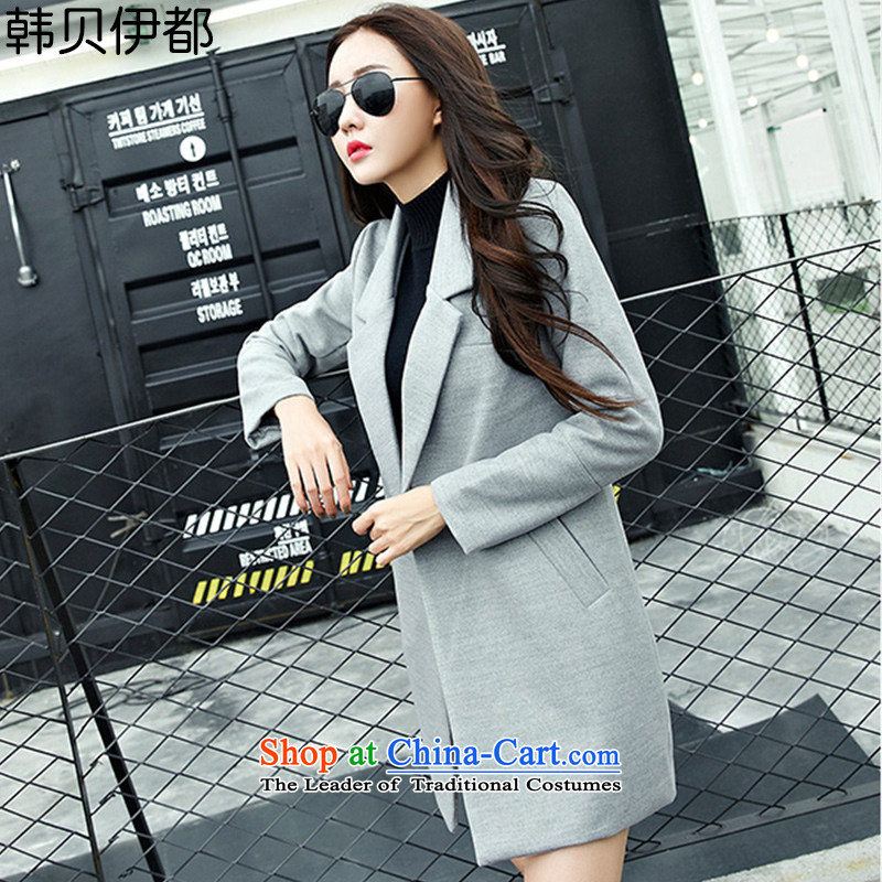 Korea Bay are 2015 autumn and winter new long-sleeved single row detained Sau San Korean pro code thick hair? coats wind jacket female HYW8858 GRAY M