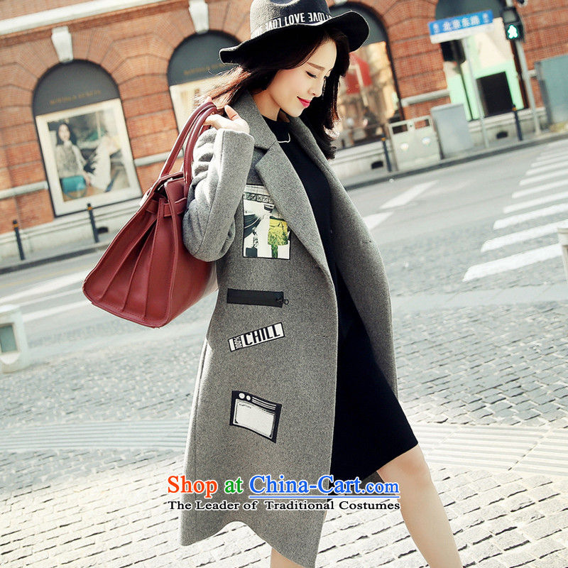 Sin has爊ew products in the autumn 2015 Winter Korea long-sleeved Pullover wool coat girl in long?_ coats larger female gray thick warm燣