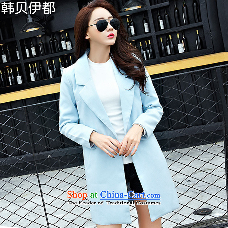 Korea bay is autumn and winter new long-sleeved single row detained Sau San Korean pro code thick hair? coats wind jacket HYW8858 female skyblue燣