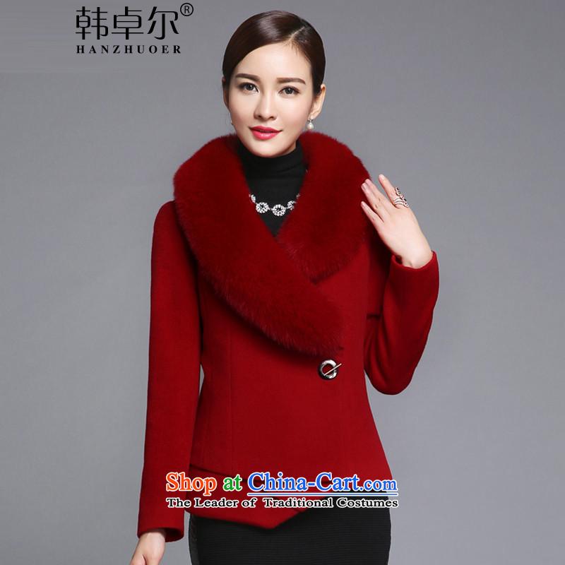 Korea's聽20152015 autumn and winter new Korean Foutune of video thin really fox gross collar short Fleece Jacket coat female Q421? BOURDEAUX聽M