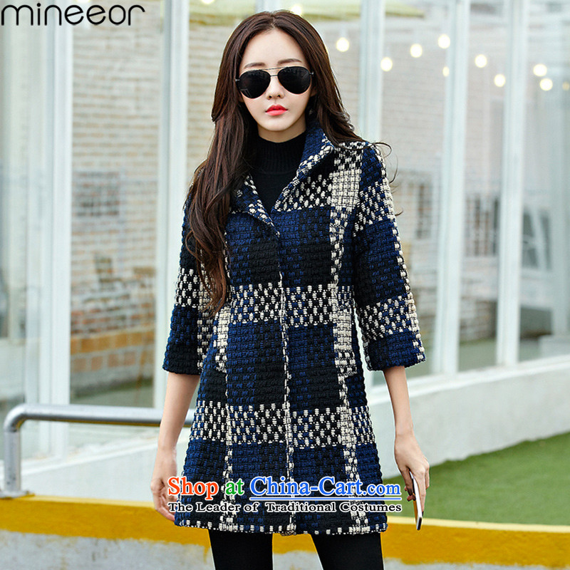 Mineeor2015 autumn and winter new a wool coat girl in long Korean winter coats women so thick hair jacket HYW8852 Blue M