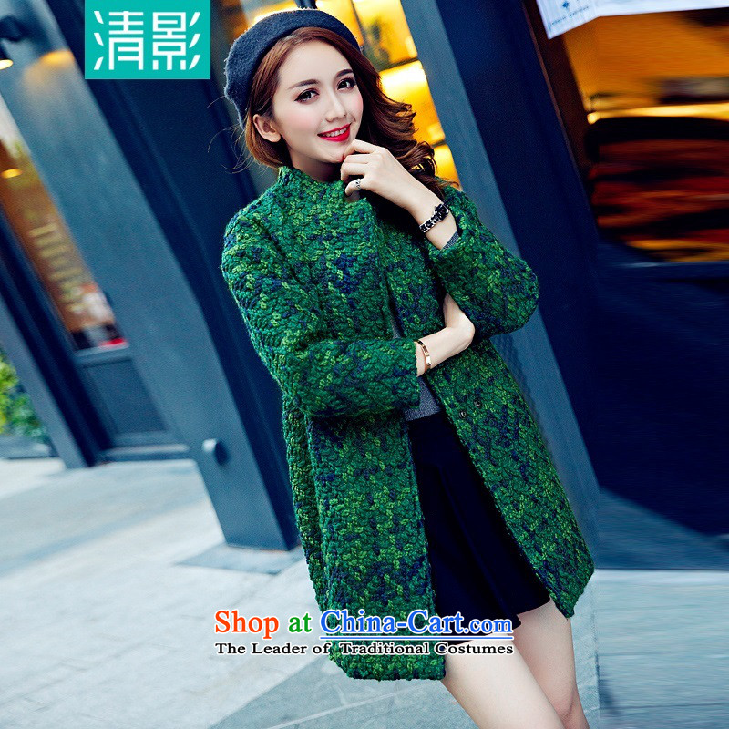 Pretty shadow autumn and winter load new Korean female loose video thin latticed coats that long thick hair? jacket green燲L
