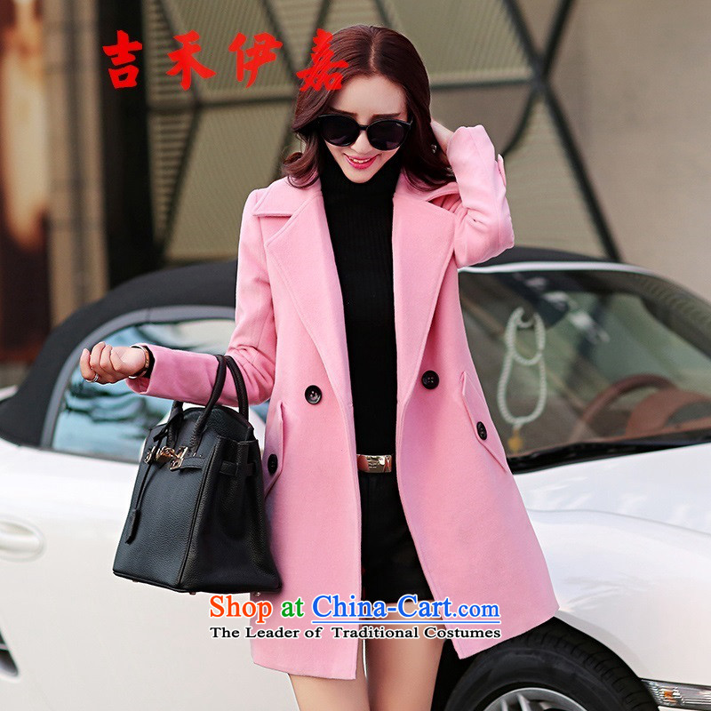 Gil Wo Ika red jacket girl in gross? Long autumn 2015 new lapel cashmere overcoat Sau San female pure color woolen coat pink燤